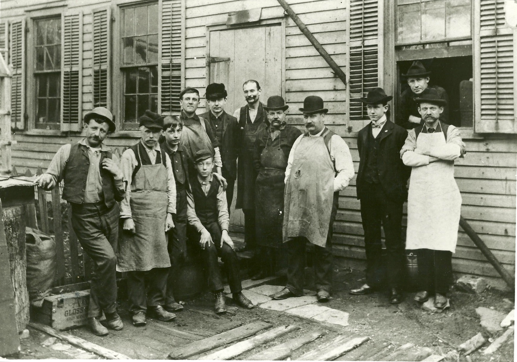 Braun Brush Company employees circa 1911 at the company's Brooklyn factory. Standing, third from the right is founder Emanual Braun;  second from right in the black suit is Albert Cheney, Lance's grandfather.